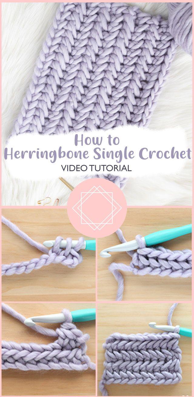 Learning The Herringbone Single Crochet Stitch Single Crochet Stitch Bulky Yarn Crochet Single Crochet