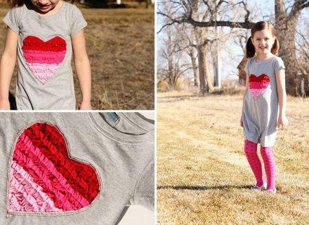 Как переделать обычную футболку в детское платье с сердцем?