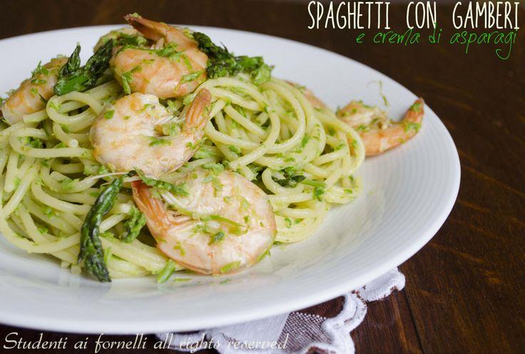 Spaghetti con gamberi e asparagi, ricetta primo di mare