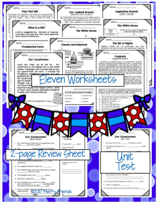 United States Government Learning Unit.  Includes eleven worksheets, review sheet, and a unit test.  Great for grades 2, 3 and 4!