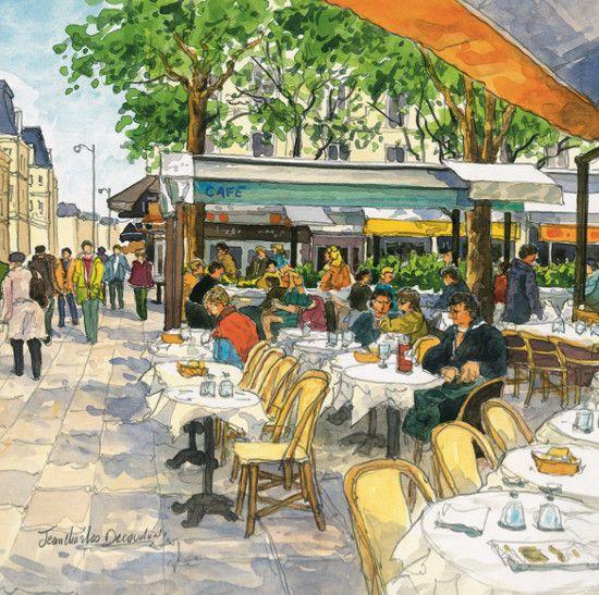 Terrasse de café, quartier de Saint-Paul à Paris. Art by Jean-Charles Decoudun