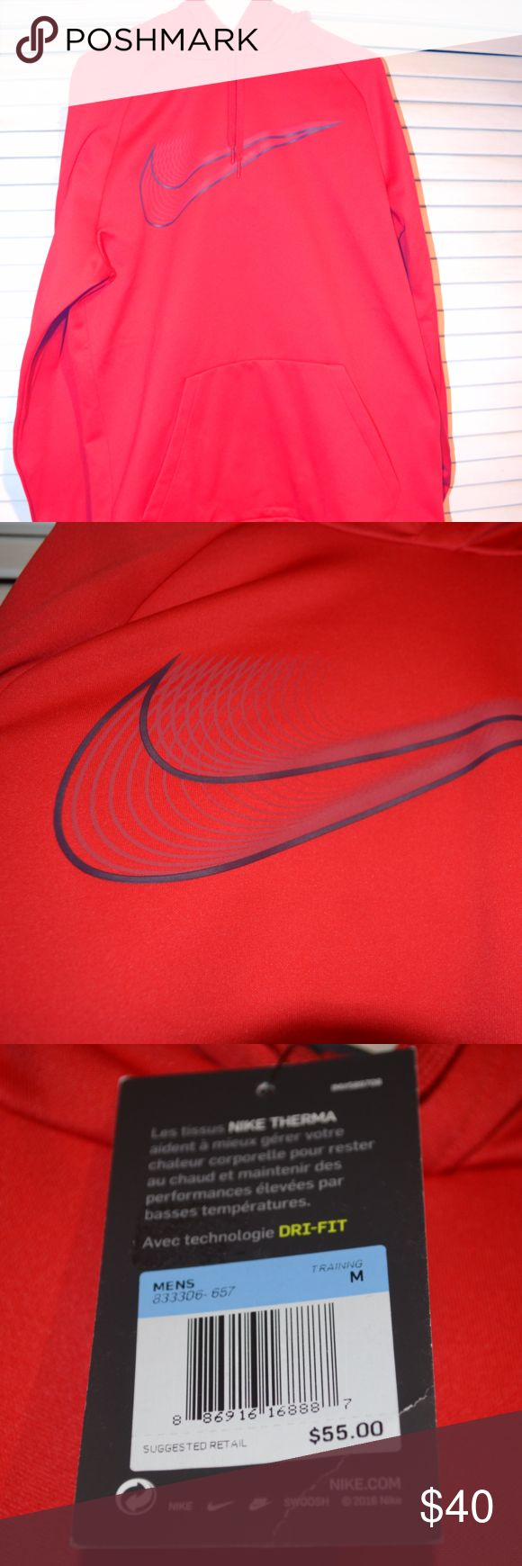 Red Mens Nike Hoodie Red hoodie with black Nike Check - Therma hoodie with Dr-fit technology Nike Shirts Sweatshirts & Hoodies