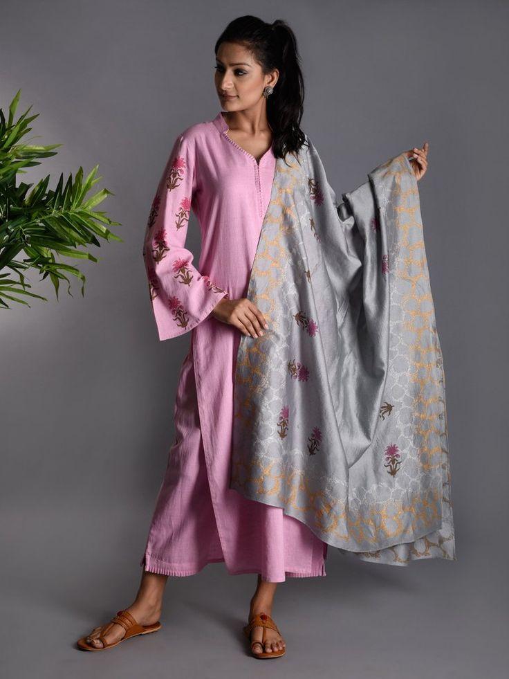 Pink Grey Block Printed Khadi Kurta and Pants with Chanderi Dupatta - Set of 3