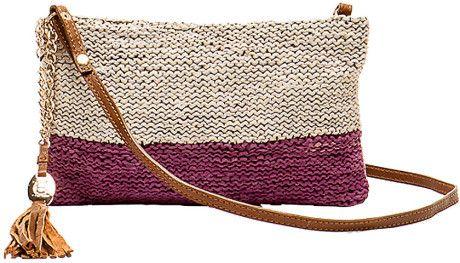 Olivia Harris Brown Colombier Colorblock Crochet Crossbody Clutch