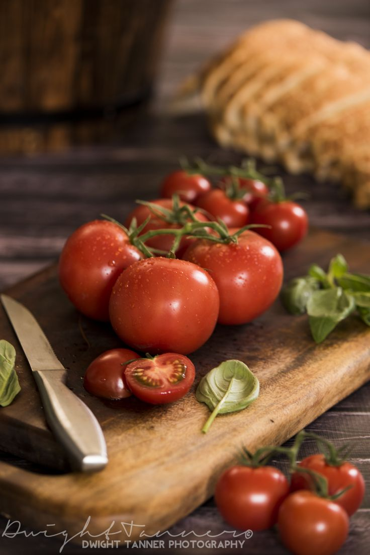 www.facebook.com/DwightTannerPhotography   food, food photography, photography, tomatoes, knife, bread, commercial