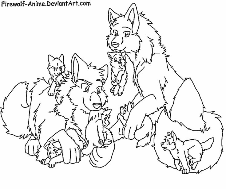 Cute wolf family anime wolves pinterest wolf and for Coloring page of a wolf