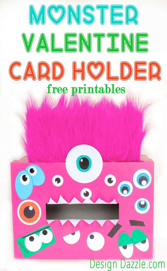 Make this fun Monster Valentine Card Holder! It's so easy, you and your kids will love it. Check it out on Design Dazzle.