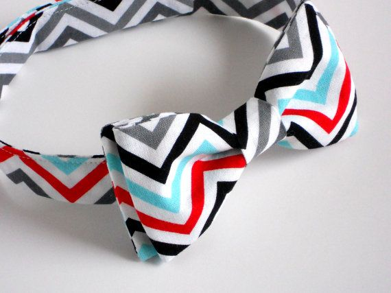 cake smash bow tie, perfect for a first birthday! In modern red and blue chevron by LilGents, $18.00