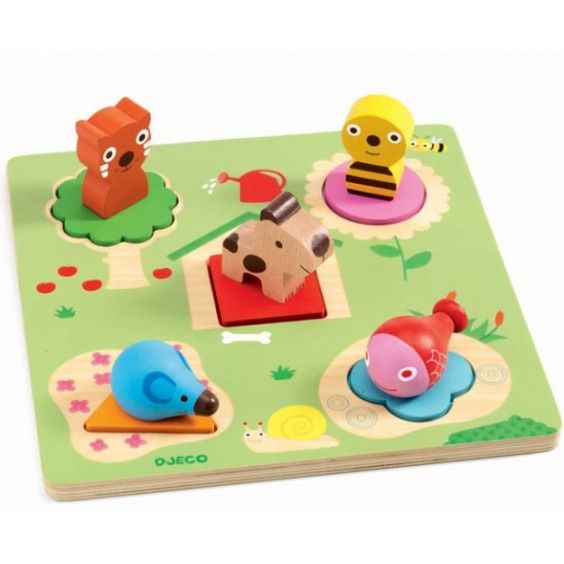 Djeco - First Wooden Puzzle Niko Animals Cool little first puzzle! A cuter alternative to the peg board #Entropywishlist #pintowin