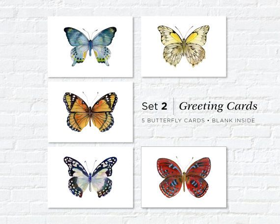 Watercolor Butterfly Greeting Cards Set 2 by AmyKirkpatrickArt
