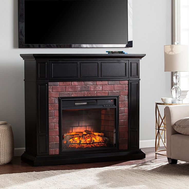 Home Marketplace Kyledale Faux Brick Infrared Media Fireplace - Black with Red Rub Through and Simulated Red Brick