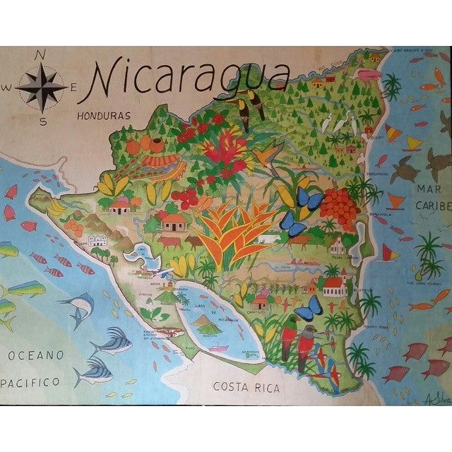 Beautifully colorful artistic map of #Nicaragua by Augusto Silva, hanging at The Inn at Rancho Santana on Nicaragua's Pacific Coast (map shows both the Pacific and Caribbean coasts and the lakes in between, plus volcanoes, wildlife, etc.)