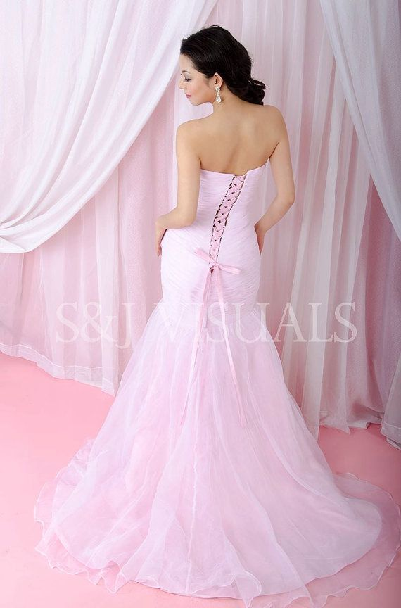Blush Pink Mermaid Wedding Dress  Couture by StaysiLeeCouture