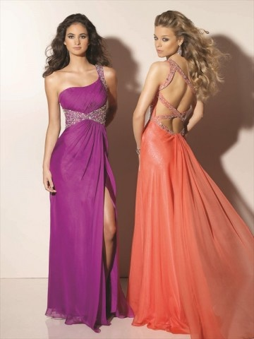 The back of the tangerine colored one is gorgeous! But both are beautiful dresses.