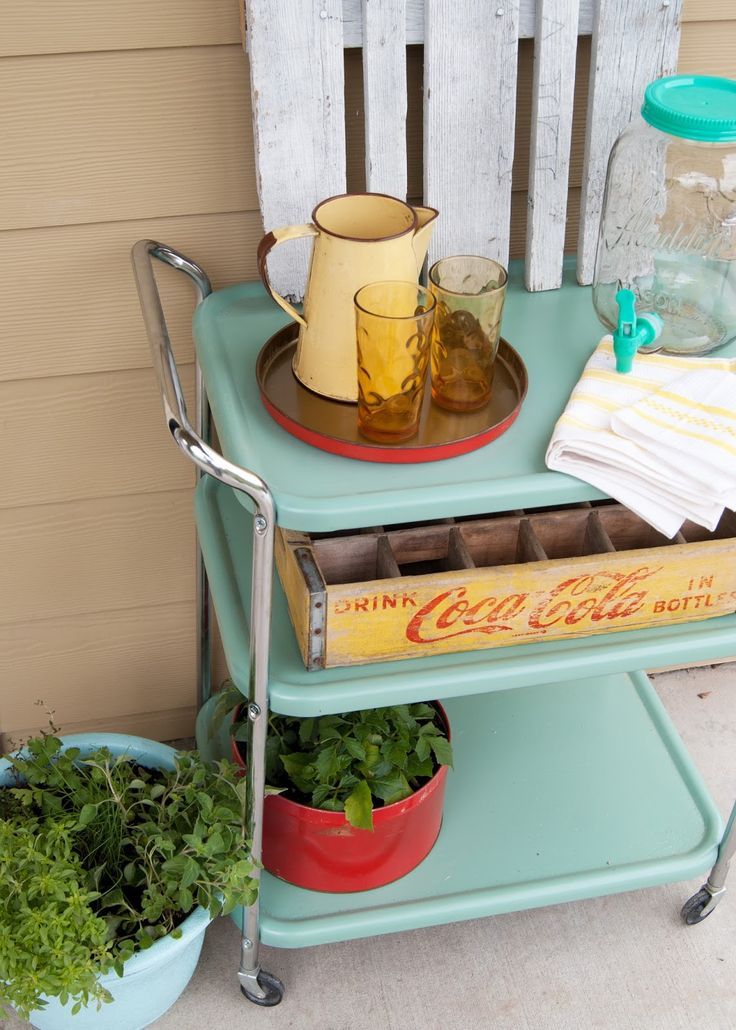 retro metal record cart | Vintage cart for outdoor entertaining