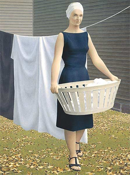 Woman at Clothesline  1956-1957  glazed oil emulsion  121.9 x 91.4 cm  Collection of the National Gallery    Alex Colville paints Woman at Clothesline from his home on York Street. He often uses his wife, Rhoda Wright, as his model.