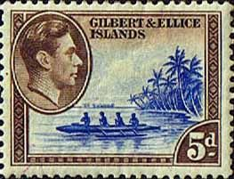 Gilbert and Ellice Islands 1939 SG 49 Canoe Fine Mint SG 49 Scott 46 Other Gilbert and Ellice Islands Stamps HERE