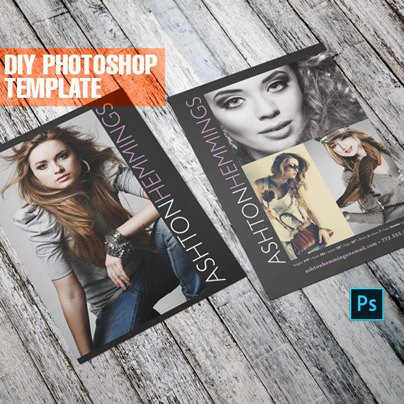 Sleek Model Comp Card - Photoshop Template (DIY) This listing is for an Adobe Photoshop® Comp Card Template, that you will edit yourself. After payment you will download a .zip folder that contains 2 Adobe Photoshop PSD files (front and back of comp card), that are fully editable.
