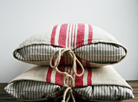 love the French grainsack/ticking pillows:  The Vintage Rose: October 2012