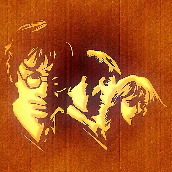 Harry Potter, Ron Weasley and Hermione Granger Free Pumpkin Carving Template