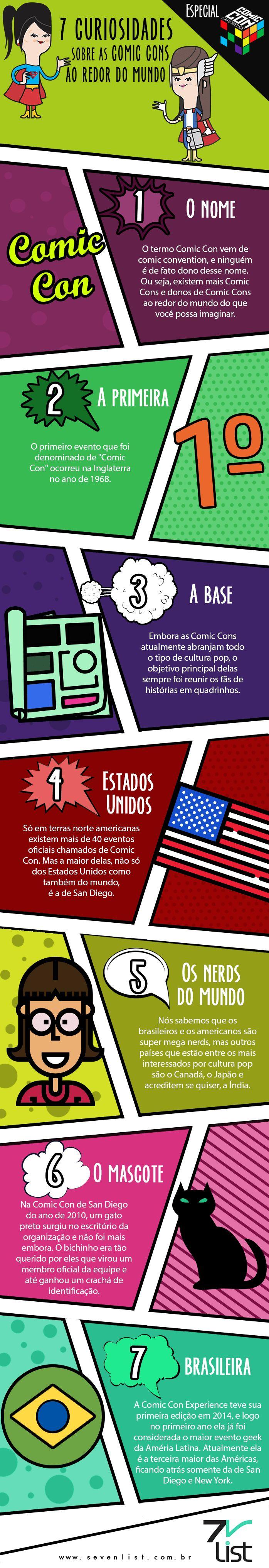 Começou hoje, em São Paulo, a Comic Con Experience 2016. Nós do Seven List estaremos lá de sexta-feira a domingo, cobrindo todo o evento especialmente para você. E para ir esquentando, veja 7 curiosidades sobre as Comic Cons ao redor do mundo. #SevenList #CCXP #CCXP2016 #COMICCON #COMIC #NERD #NERDICE #ART #INFOGRÁFICO #HEROES #GEEK #CULTURAPOP #CINEMA #CINE #MOVIE #FILM #HQ #QUADRINHOS #TV #TVSHOW #SERIES #MARVEL #DC #COSPLAY