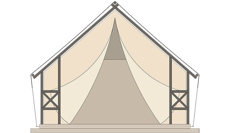 GLAMPING TENT  Overall sleeping places 2 Body length 3,4 m Total width 5,9 m