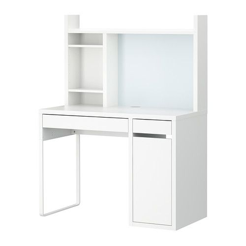MICKE computer work station in white - $129 (can also be purchased without desk hutch); the desk matches the bedroom set, the side drawer can hide a trash can, and the hutch provides plenty of storage space for organization