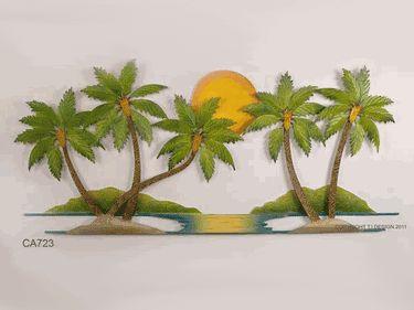 Tropical Home Decor Coastal Metal Wall Art Walls Sculptures Palm Trees Coconut Oasis