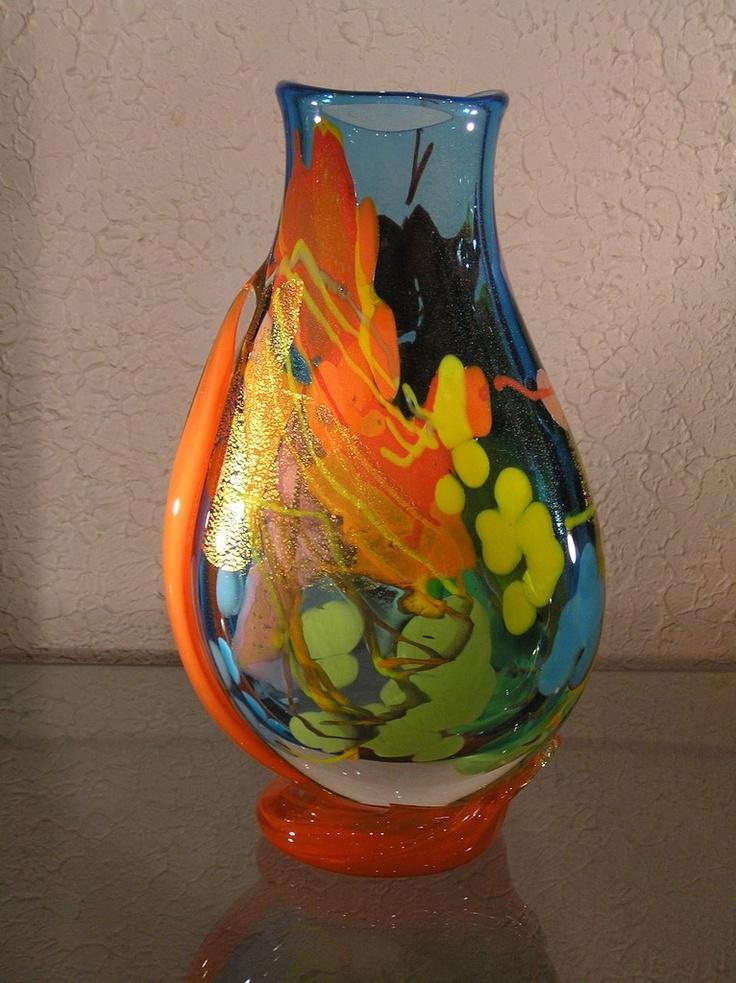 Vase plat cordon, Verrerie Guyot à Biot