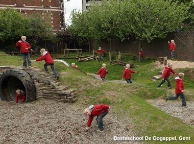 Verschillende groenelementen in basisschool De Oogappel (Gent)