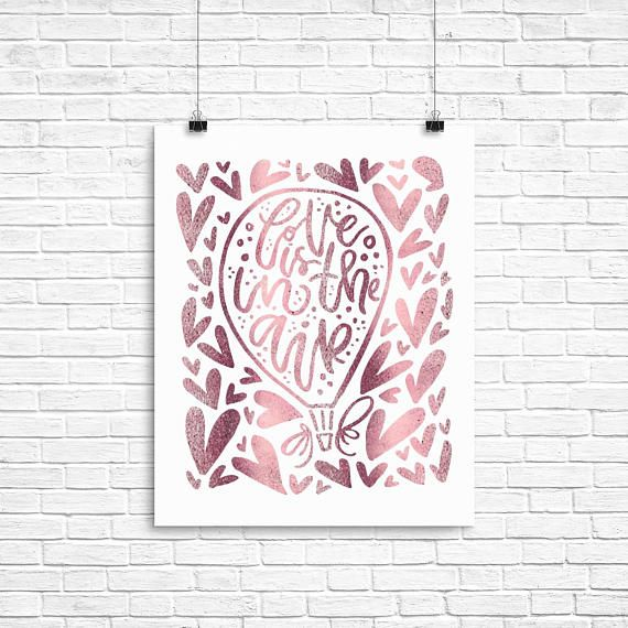 Girl Gallery Wall Art - Girls Room Decor - Love Is In The Air - Pink Foil Print - Typography Foil - Baby Shower Gift - Foil Printed