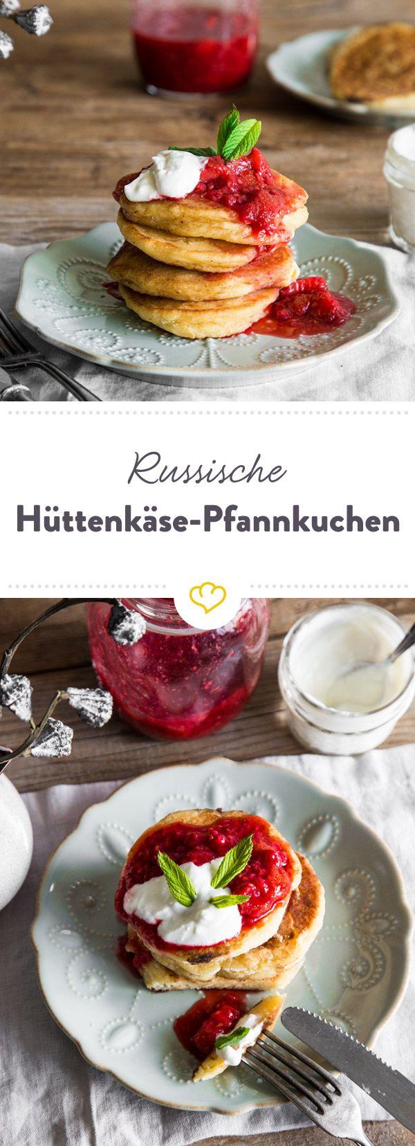 Sind es noch Pancakes oder doch eher Mini-Käseküchlein? Wer hätte gedacht, dass sich Hüttenkäse so gut in in Pfannkuchen machen?