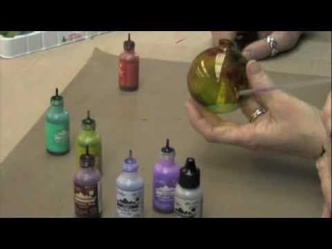 DIY glass ornaments with Alcohol Inks (and canned air) soooooooo cool!  and expensive, if bought already made!
