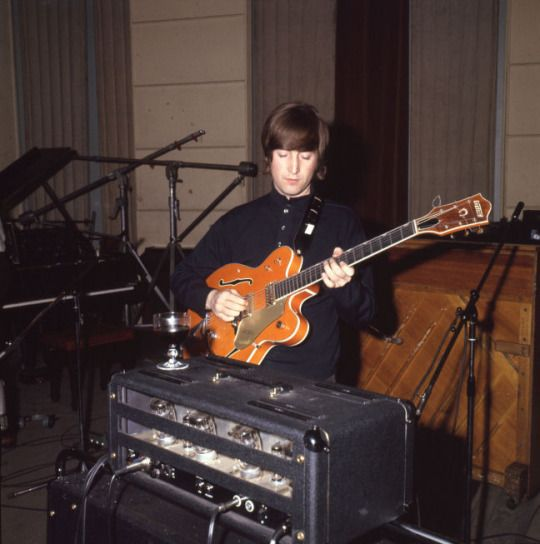 "John Lennon at EMI Studio 3, ""Paperback Writer"" session; captured by Leslie Bryce (1966)"