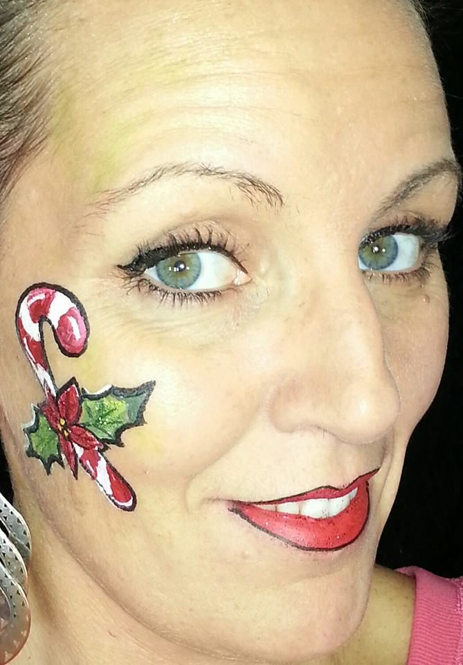 Christmas Candy Cane Face Paint