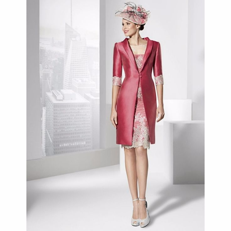 Fuchsia 2017 Mother Of The Bride Dresses Sheath Knee Length Half Sleeves Applique With Jacket Short Mother Dresses For Weddings