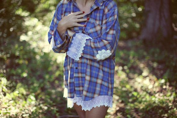 Flannel shirt with lace size large by RedRoosterCoop on Etsy, $25.00