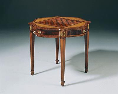 Light Mahogany Serpentine Game Table With Playing Pieces   3140 016
