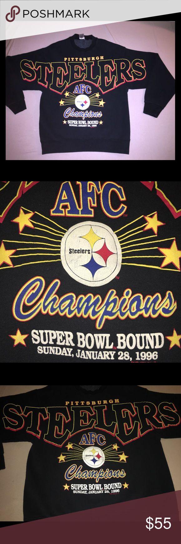 Vintage Pittsburgh Steelers Super Bowl Sweatshirt 100% Authentic   Official NFL Super Bowl Merchandise   Pittsburgh Steelers   1996 AFC Champions   Super Bowl Bound   Vintage Sweatshirt   Men's Size Large   100% Cotton Shirts Sweatshirts & Hoodies