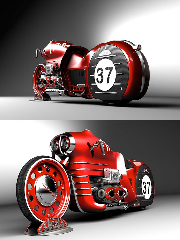 "✤ The ""GL1-m"" above was commissioned by an established Russian vehicle fabricator called Alexander Bushuev, who plans to turn the machine into metal. There's very little information on the fluoro green C-Org Trike below, but the steampunk-style design (bottom) was apparently inspired by 1920s racing cars fitted with aircraft engines."