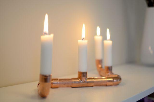 DIY Copper Pipe Menorah (tutorial for candelabra, but  can easily change design to create menorah)