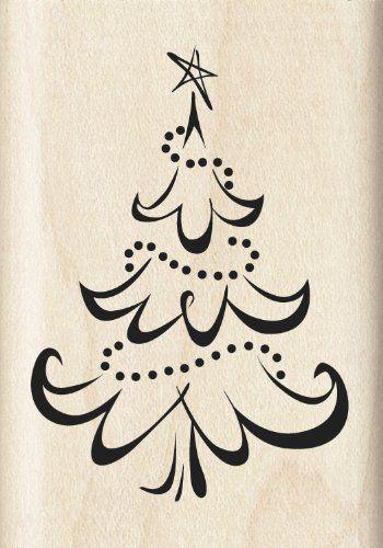 Inkadinkado Calligraphy Christmas Tree Wood Stamp