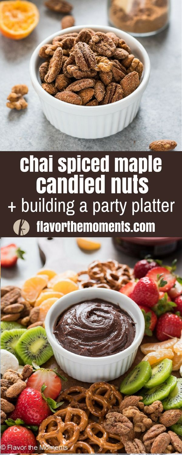 Chai Spiced Maple Candied Nuts + Building A Party Platter is a recipe for easy stove top candied nuts and a tutorial on assembling the perfect party platter! #ad #AllFlavorNoGuilt #ChocolateHummus @boarshead