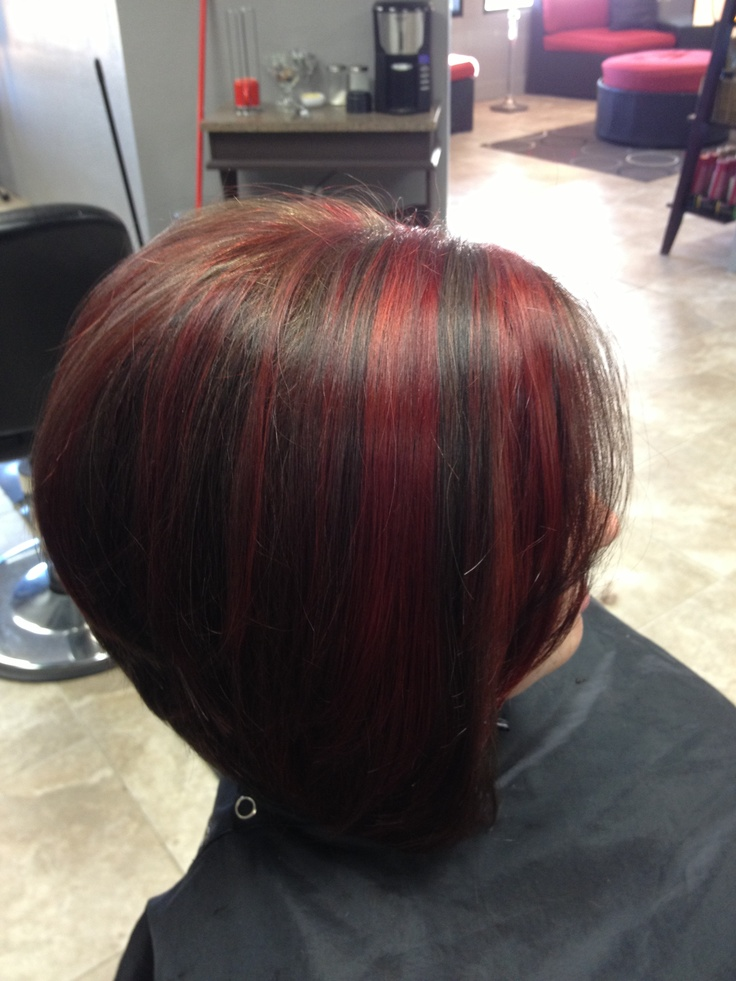 Chunky Red Highlights By Audrey Miller Dark Hair With