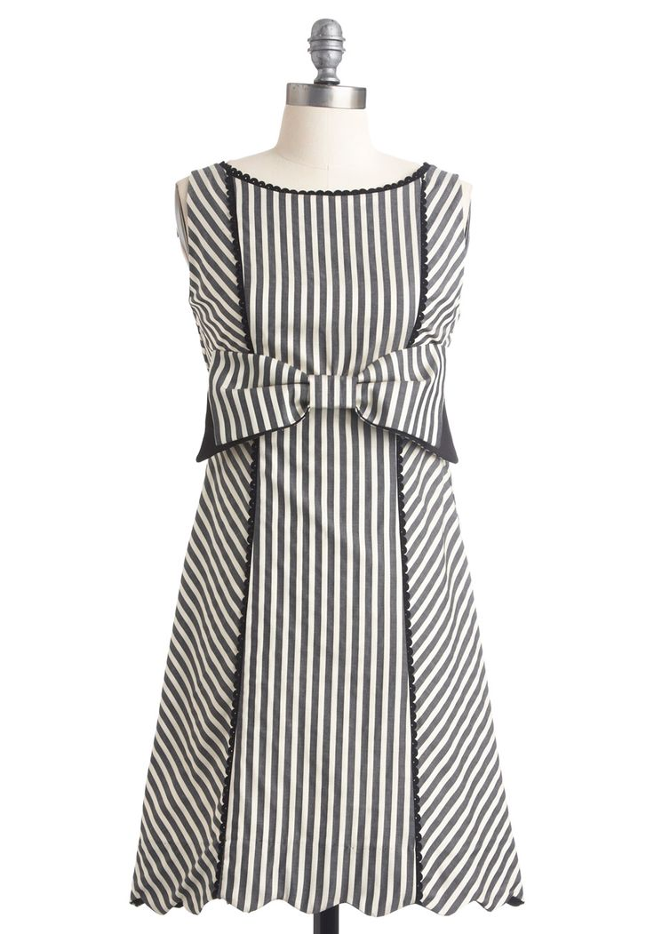 Starlet in Stripes Dress - Mid-length, 60s, Grey, Black, White, Stripes, Bows, Scallops, Trim, Casual, Sheath / Shift, Sleeveless, Print