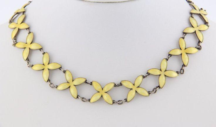 Bernhard Meldahl Norway Sterling & Enamel Necklace & Earrings - Yellow Floral #BernardMeldahl