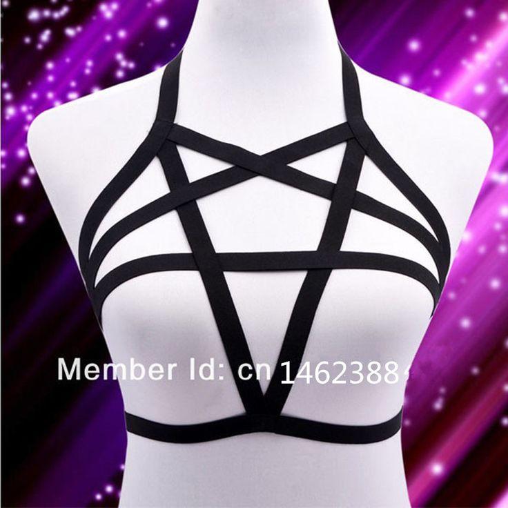 Новый Сексуальный Эластичный Белье pentagram жгут кейдж бюстгальтер тела кейдж фетиш связывание Ремня 90-х Гот костюм Тела