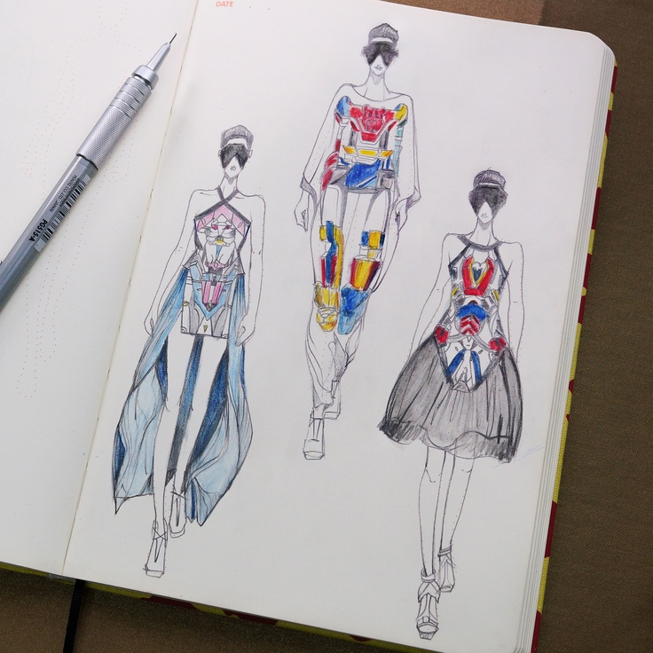 Sketching of Ground Zero SS13 on Fashionary A5 Womens Sketchbook