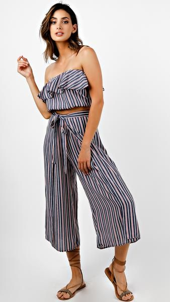 9b205fd4f24 Red White And Blue Striped Ruffle Crop Top And Pants Set