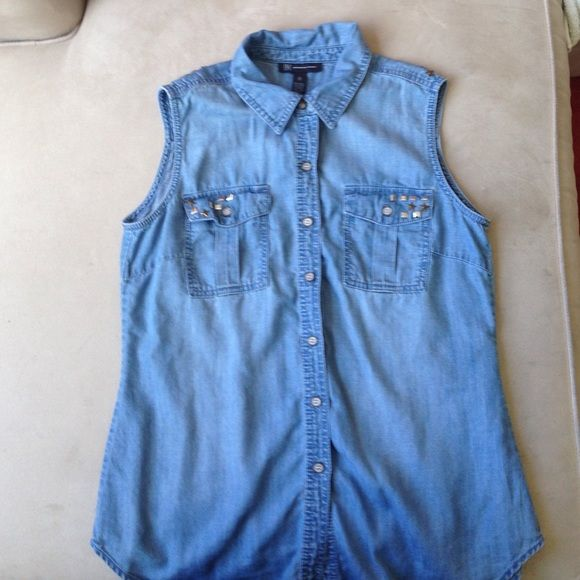 Sleeveless Denim Shirt This is a stars and squares studded sleeveless denim shirt.  It buttons up and is a size 8. INC International Concepts Tops